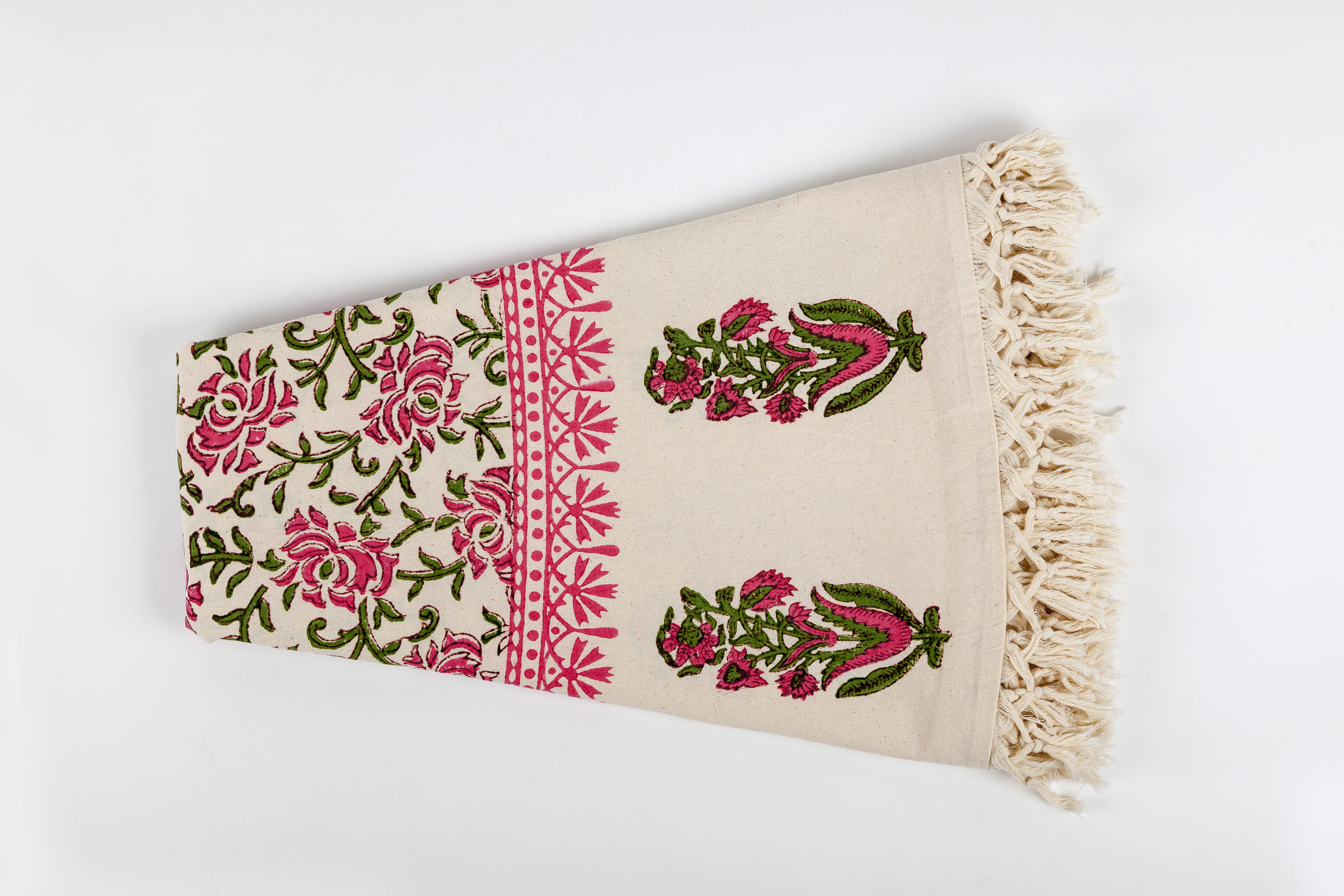 Wit Cotton Block Printed Round Tablecloth